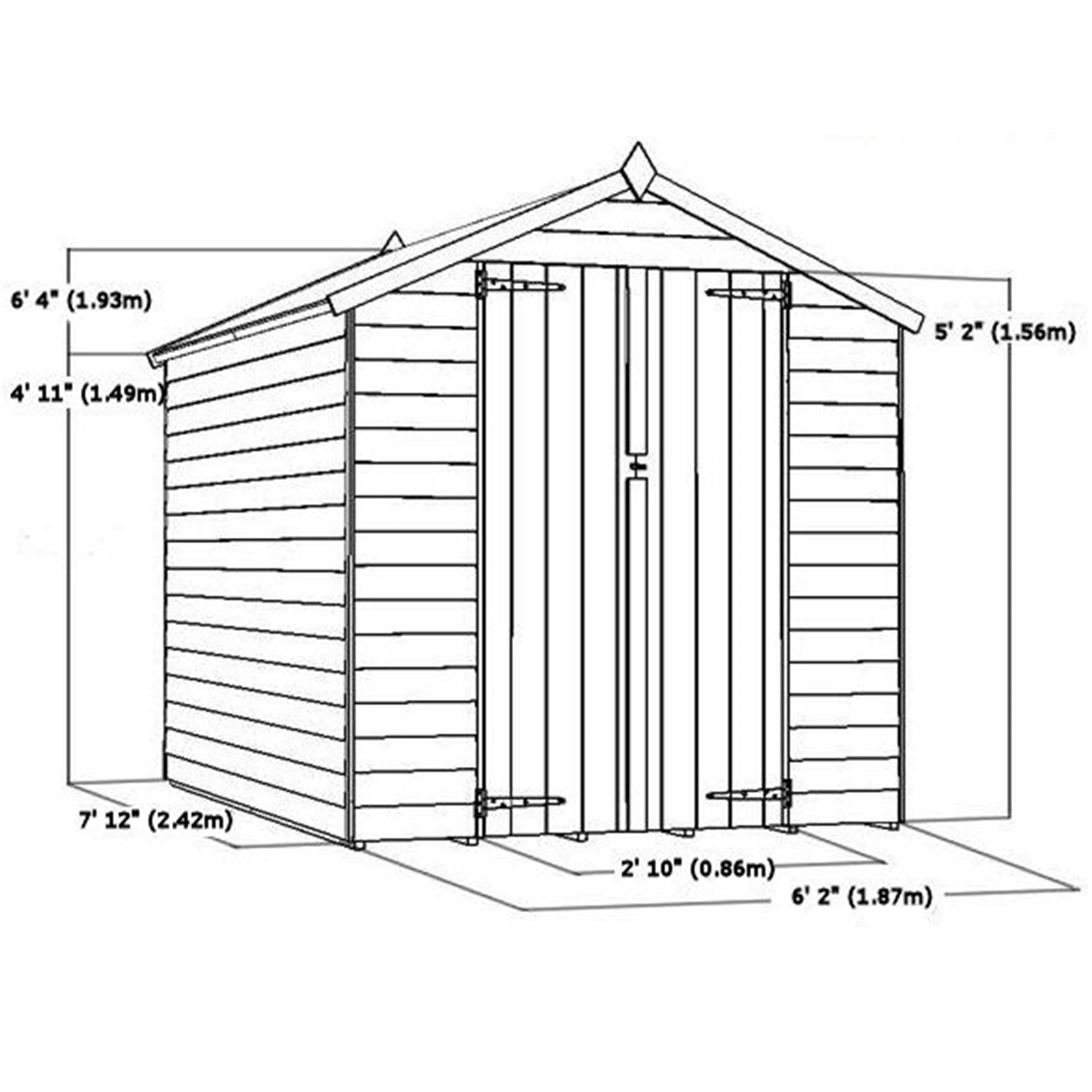 Average Wall Height: INSTALLED 8 X 6 Garden Wooden Overlap Sheds
