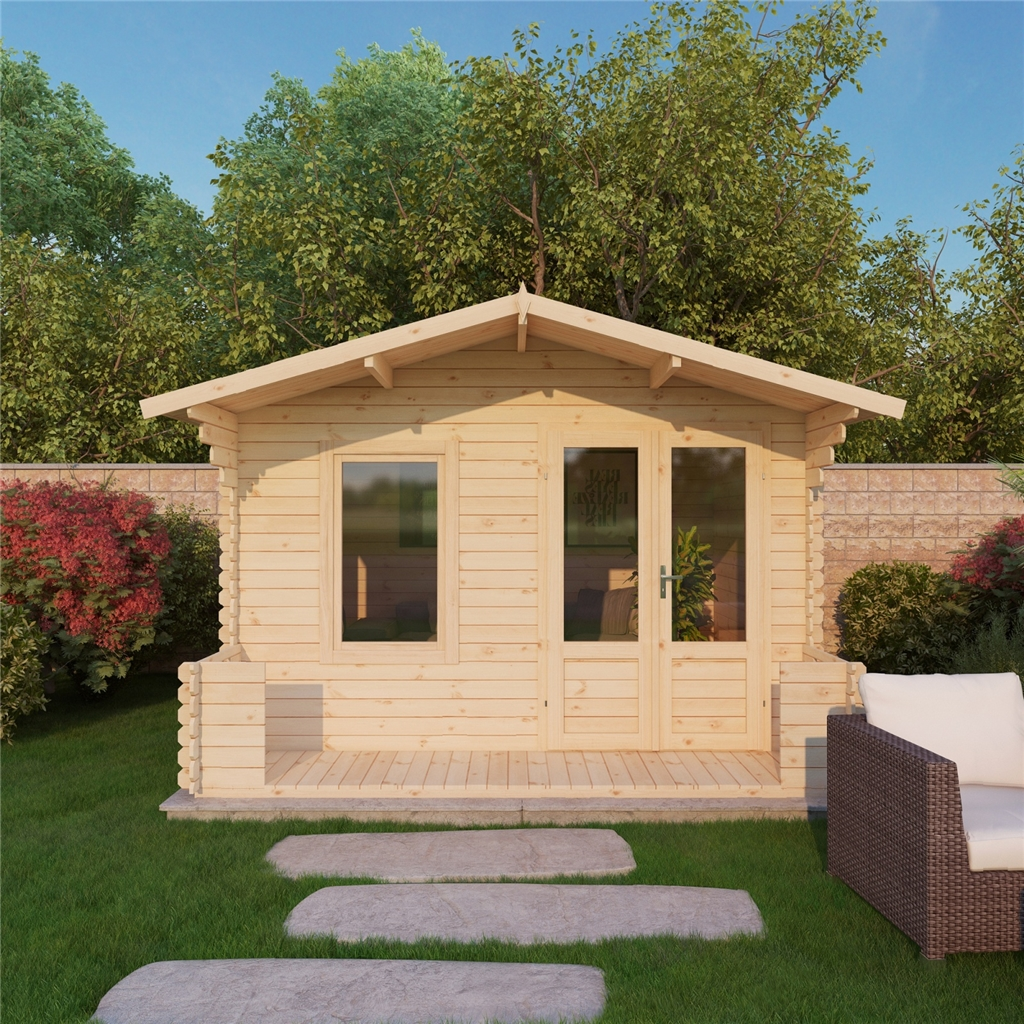 11 x 12 (3.29m x 3.78m) Budget Log Cabin Including Veranda (2ft 7') - 19mm Wall Thickness ...
