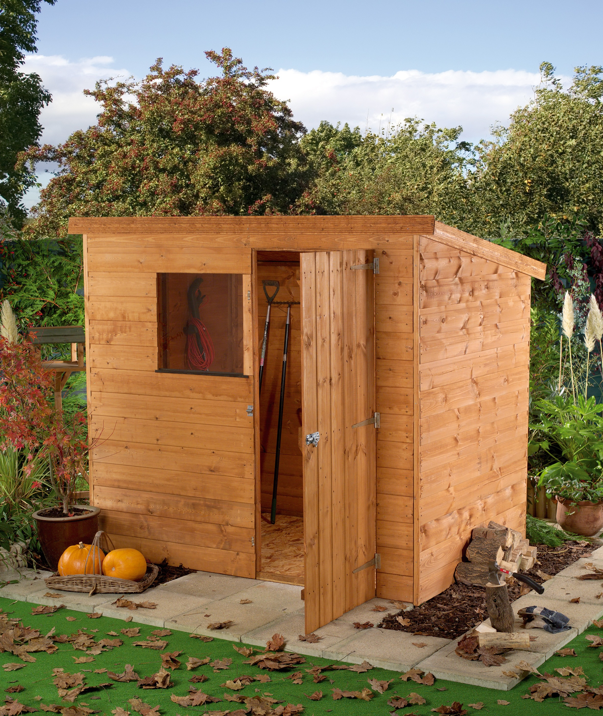 6 x 4 Garden Tongue and Groove Wooden Pent Shed - 1 Window - Single ...