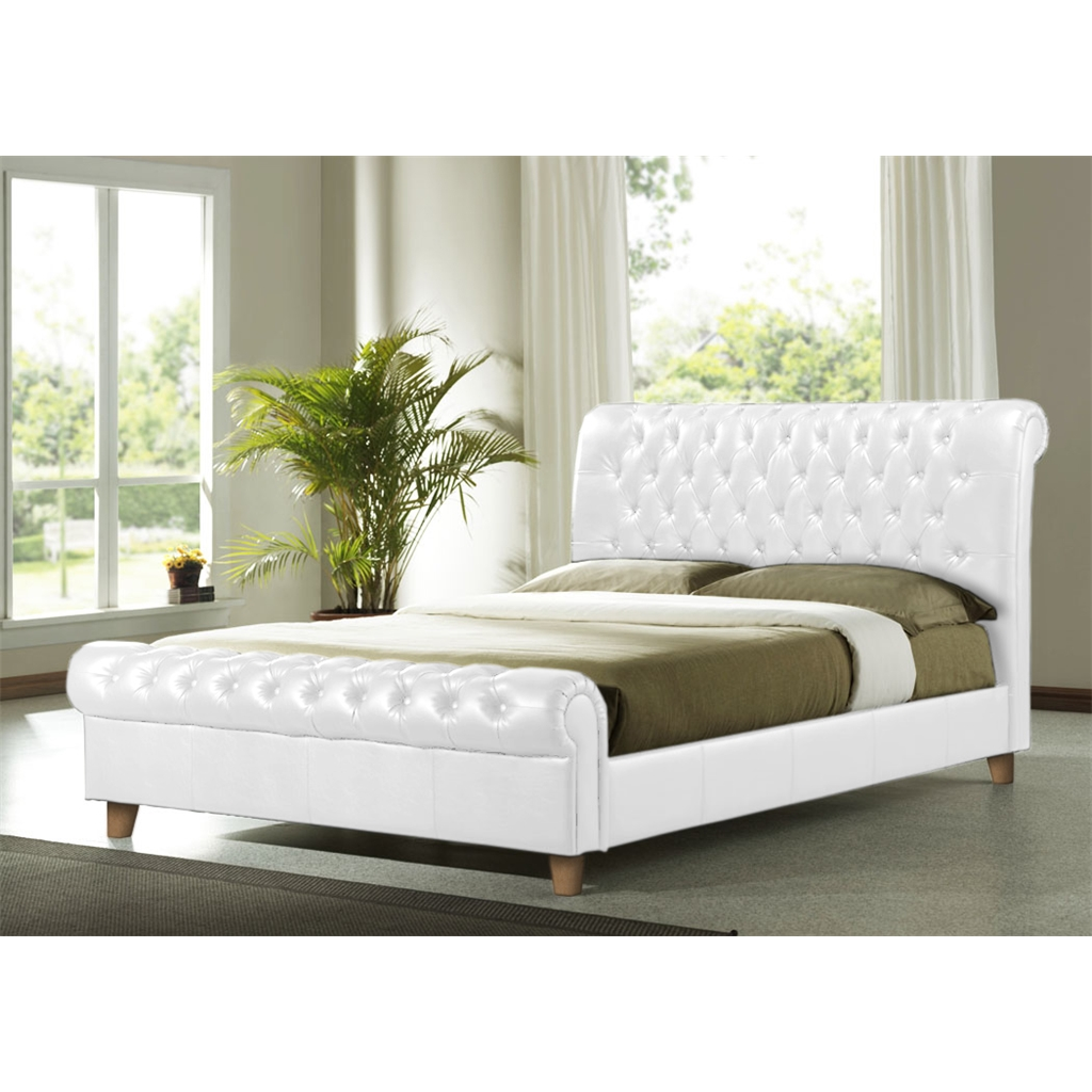 - White Faux Leather Sleigh Bed Frame - Super King Size 6ft - Free