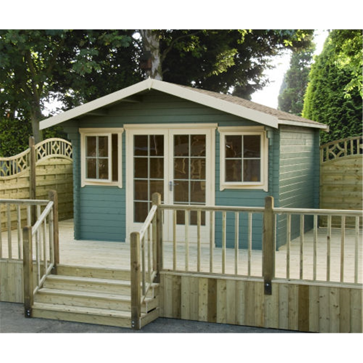 18 X 16 Log Cabin With Fully Glazed Double Doors (5.34m X