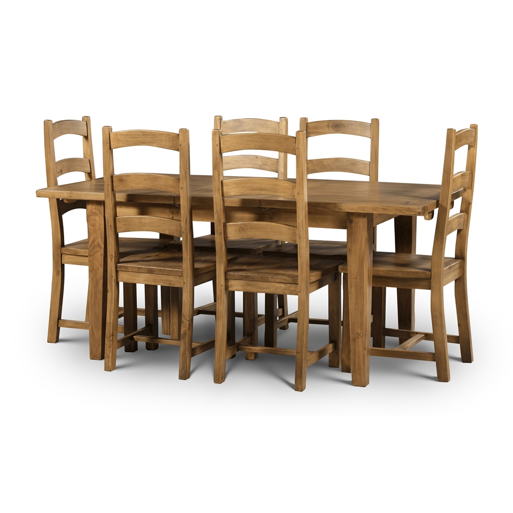 Solid Reclaimed Pine Extending Dining Table Set 6 Chairs