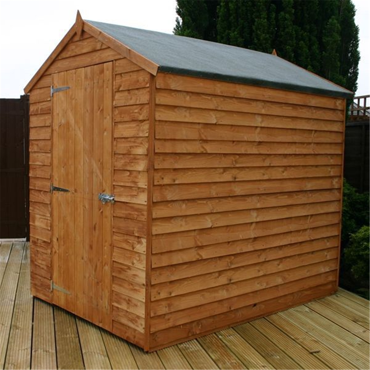 Installed 7 X 5 Overlap Apex Wooden Shed Single Door 7mm Wall Thickness Includes Installation Homeberry