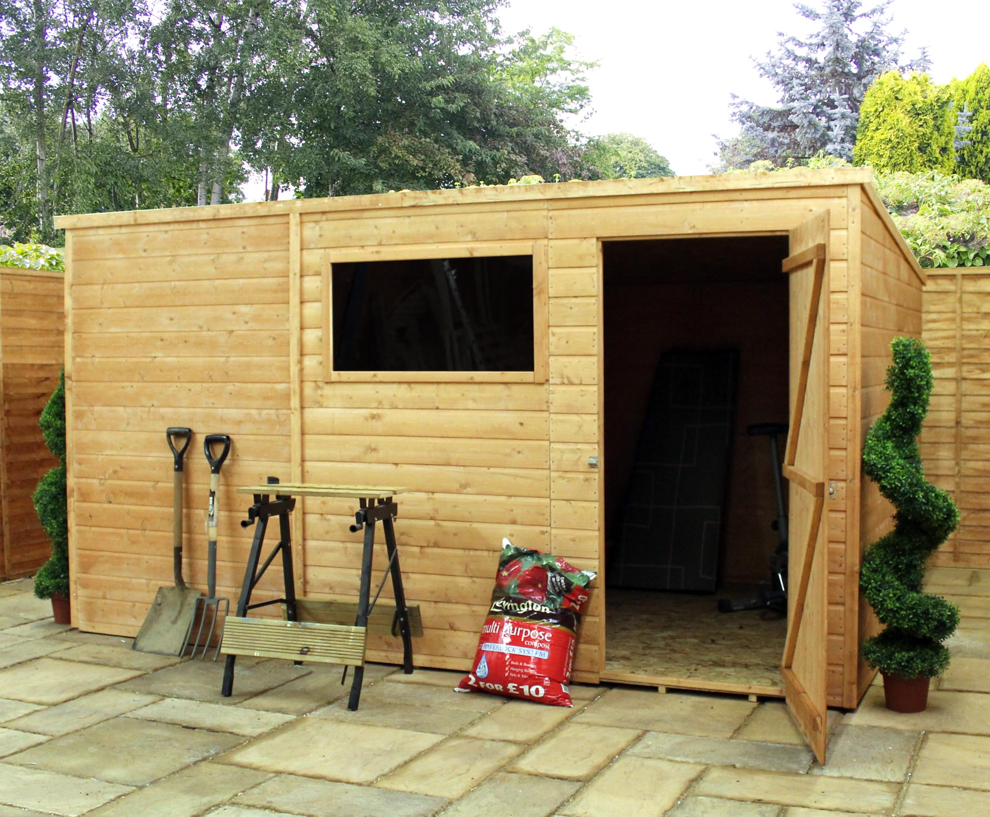 Installed 10 X 8 Tongue And Groove Wooden Pent Garden Shed Single Door 1 Window 12mm Wall Thickness Includes Installation Homeberry